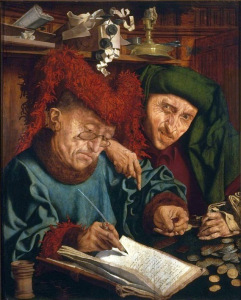 """Two Tax Collectors"", Marinus van Reymerswale (c.1490/1495–1546), National Museum, Warsaw, Wikicommons"